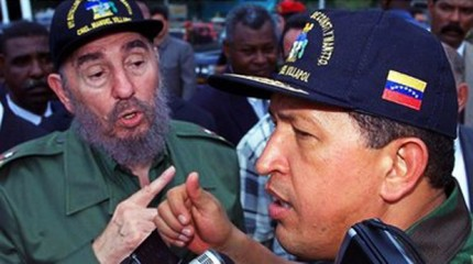 Hugo Chavez is seen with Cuban president Fidel Castro in this undated photo. Photo: BBC Online