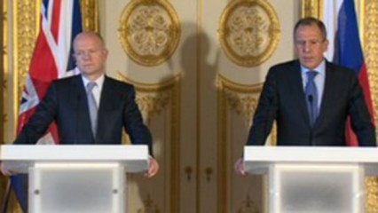 Russian Foreign Minister Sergei Lavrov is in London for talks with the Foreign Secretary William Hague. The photo is taken from BBC Online
