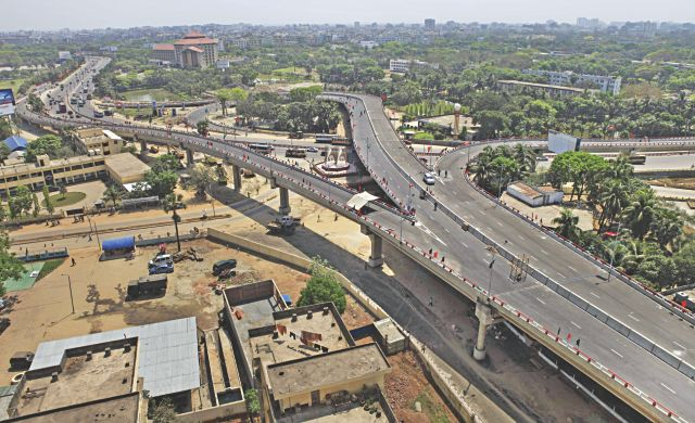 The Mirpur-Airport Road flyover, set to open today, is expected to improve the capital's traffic situation from east to west and vice versa. PHOTO: RASHED SHUMON