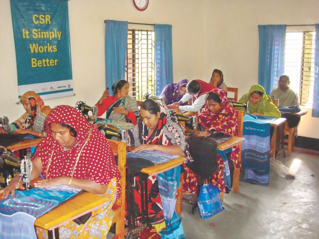 Women train to sew their way out of destitution. The picture was taken at a centre run by MRDI in the border village of Basatpur in Jessore.  Photo: MRDI