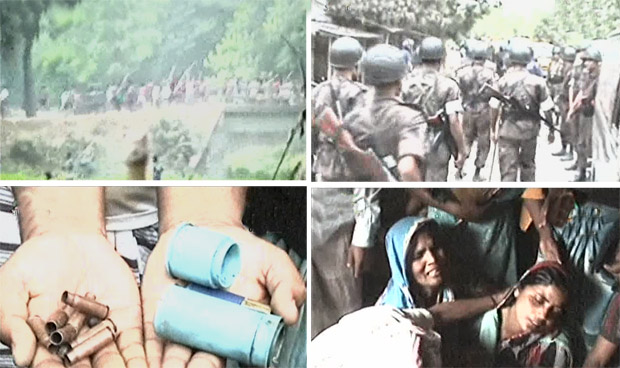 (L clockwise) Villagers of Gopalnagar in Shibganj upazila of Chapainawabganj rush with bamboo sticks in their hands during a clash with law enforcers, Boarder Guard Bangladesh personnel patrol the area, relatives of a victim wail and a man shows bullet and teargas canister shells on Friday. Photo: TV grab