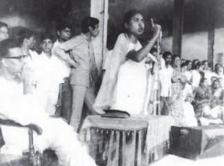 'Agni Kanya' Motia Chowdhury making one of her fiery speeches. Photo: archives