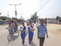 two HSC examinees go to Azizul Haque College centre in Bogra town on foot, Photo: Star