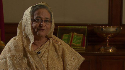 Sheikh Hasina speaks exclusively to the BBC's Anbarasan Ethirajan in Dhaka. Photo: BBC Online