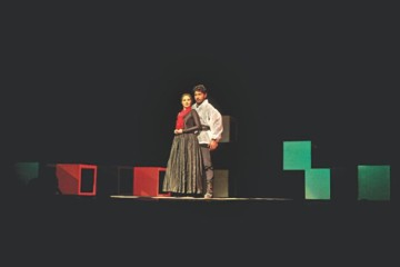 """Padatik Natya Sangsad (TSC) staged """"Macbeth"""" at the National Theatre Hall of Bangladesh Shilpakala Academy on Saturday. The 36th production of the Shakespearean tragedy was staged marking the 449th birth anniversary of the bard. The production was staged again yesterday at the British Council auditorium. Photo: Ridwan Adid Rupon"""