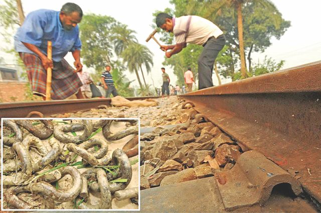 Criminals early yesterday removed 945 clips holding the rail lines to their sleepers in Bogra. Inset, some of the removed clips. Photo: Focus Bangla