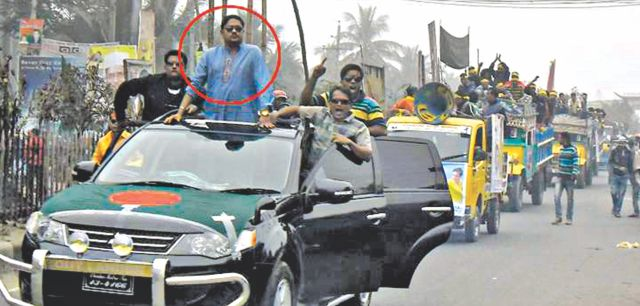The photo taken on Victory Day, 2012, shows Sohel Rana, the owner of Rana Plaza, on an SUV of a motor procession of Jubo League, the youth front of ruling Awami League. On Thursday, Prime Minister Sheikh Hasina told parliament that she had seen the list of Savar Jubo League office bearers and Sohel Rana was not on the list. Photo: Banglar Chokh