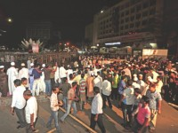 Hefajat activists gather at Shapla Chattar in Motijheel late last night for their rally today. Photo: Star/ Focus Bangla