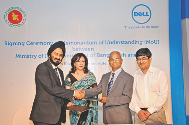 Harjeet Rekhi, general manager of Dell, South Asia  Developing Markets and N I Khan, secretary, ministry of  ICT exchange MoU at the event.