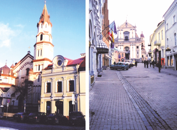 (Left) A church in the Lithuanian capital. (Right) A Vilnius street.