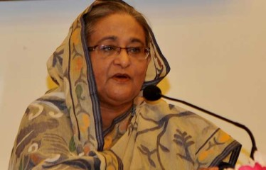 Prime Minister Sheikh Hasina speaks at a press briefing at her Gono Bhaban residence on Friday. Photo: BSS
