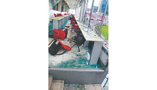 Damaged the press box  and other facilities of the premier venue. Photos: Courtesy