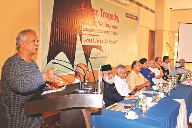 "Prof Muhammad Yunus speaks at a dialogue on ""Savar tragedy, worker welfare and looming economic crisis"" organised by Power and Participation Research Centre at Lakeshore Hotel in Dhaka yesterday. Photo: Amran hossain"
