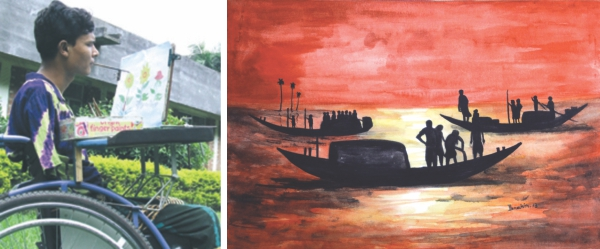 Double amputee Emdad Hossain Mollik uses his mouth to paint breathtaking pictures like the one shown above.