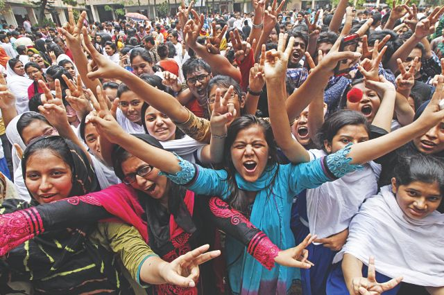 "Jubilant students of Motijheel Ideal School and College yesterday after they heard that their school stood first in this year's <strong>SSC</strong> examination in <strong>Dhaka Board</strong>. Photo: Star"" width=""640″ height=""426″ /></a></p> <p class="