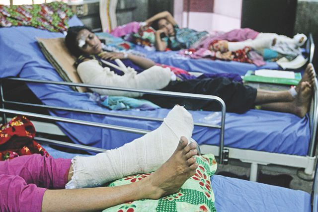 Some of the Savar collapse survivors admitted to the National Institute of Traumatology & Orthopaedic Rehabilitation (Nitor) yesterday.  Photo: Anisur Rahman