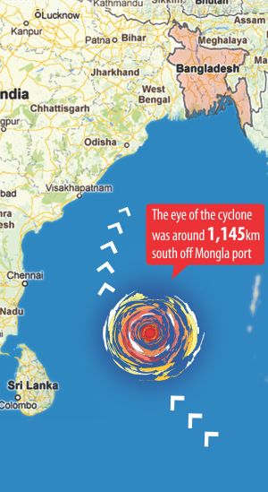 Cyclone Mahasen changes course