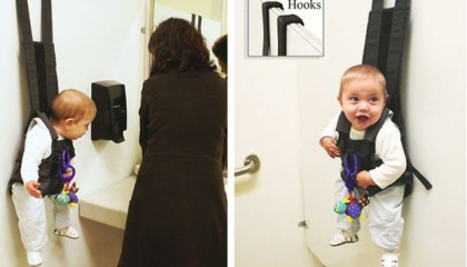 A quirky new invention aims to help busy mothers keep their baby's out of harm's way when in shop, toilets or changing rooms