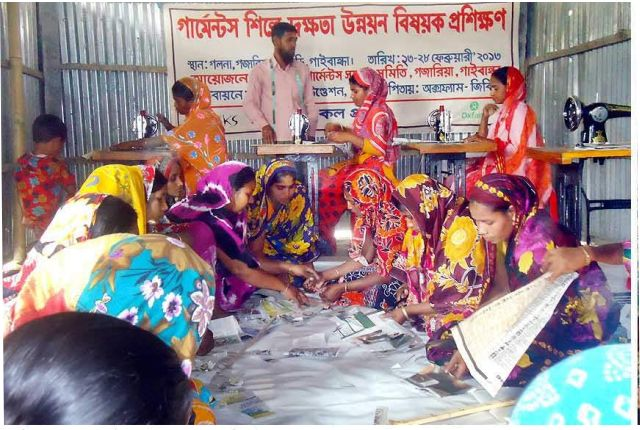 Ultra-poor women of remote Galna char in Phulchhari upazila of Gaibandha work at the mini garment factory set up by a local voluntary body. PHOTO: STAR