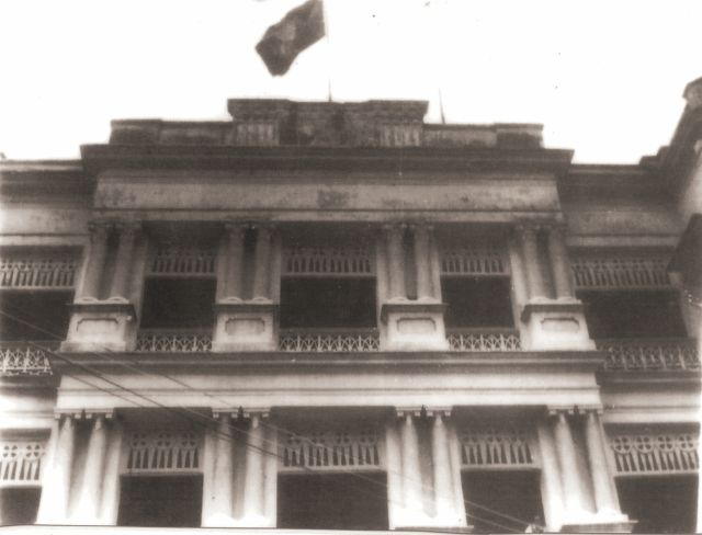Bangladeshi flag flying high on Bangladesh Mission building in India on 18th April, 1971.  Photo: ARCHIVE