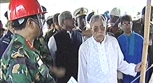 President Abul Hamid visits the Savar Rana Plaza collapse site in the afternoon on Friday. Photo: TV grab