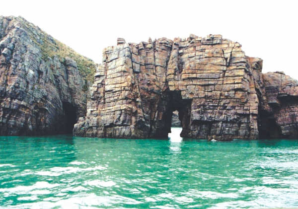 A natural archway on the sea, Hongdo, South Korea.