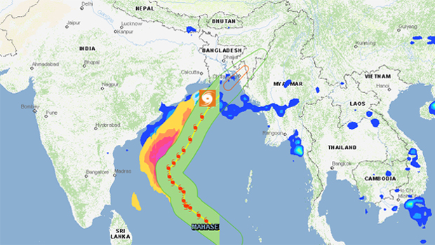 The trajectory of Cyclone Mahasen. Map by Global Disaster Alert and Coordination System
