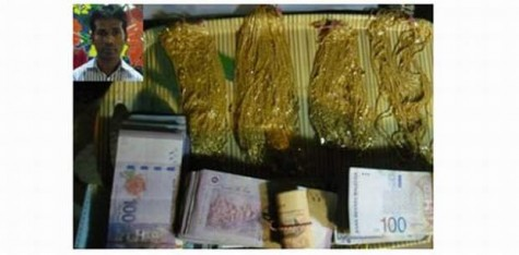 APBn police arrest Golam Rabbani (inset) with 194 gold chains and 88,412 Malaysian Ringgit at Shahjalal International Airport in the capital Saturday night. Photo courtesy: Prothom Alo