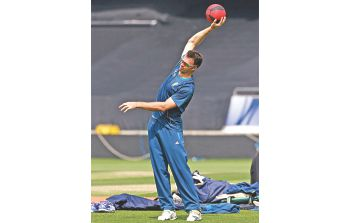 South Africa pacer Ryan McLaren does some stretching exercises with a medicine ball at The Oval yesterday, ahead of their ICC Champions Trophy first semifinal against England today. PHOTO: INTERNET