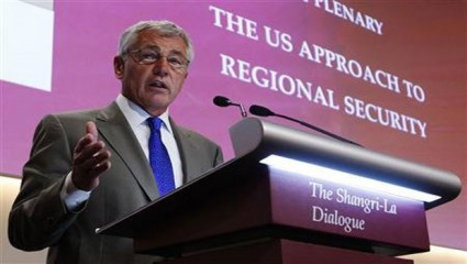 US Defence Secretary Chuck Hagel speaks during the first plenary session of the 12th International Institute for Strategic Studies (IISS) Asia Security Summit at Shangri-La Dialogue in Singapore on June 1. Photo: Reuters
