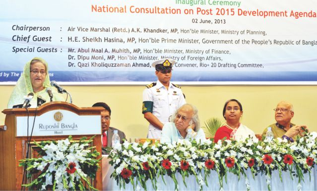 Prime Minister Sheikh Hasina speaks at the National Consultation on Post-2015 Development Agenda, organised by the General Economics Division of the Planning Commission at Ruposhi Bangla Hotel yesterday.  Photo: Star