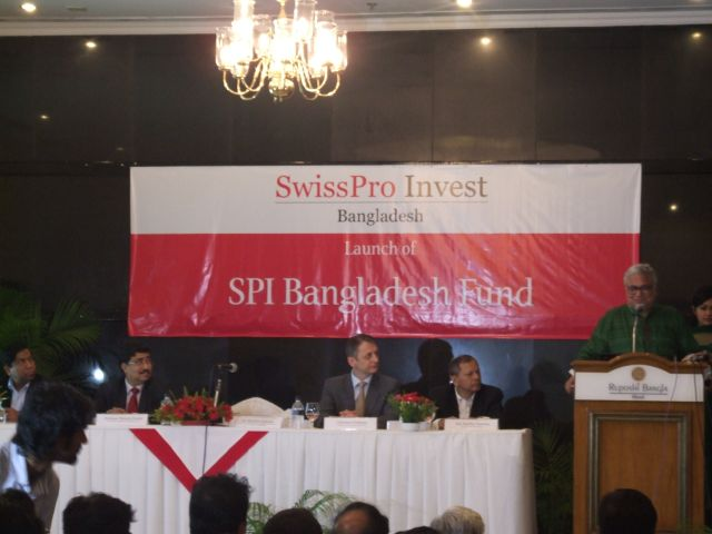 Mashiur Rahman, economic affairs' adviser to the prime minister, speaks at the launch of SPI Bangladesh Fund, a UCITS (undertakings for collective investments in transferable securities) compliant investment fund, at Ruposhi Bangla Hotel in Dhaka yesterday. Christian Forthuber, chairman of SwissPro Invest, was also present. Photo: Swisspro