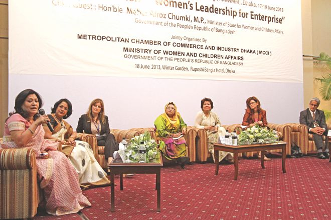 From left, Rupali Chowdhury, managing director of Berger Paints BD Ltd; Sabrina Islam, president of Women Entrepreneurs' Association, Bangladesh; Freda Miriklis, president of International Federation of Business and Professional Women; Norlin Binti Othman, Malaysian high commissioner; Rokia A Rahman, president of MCCI; Heather Cruden, Canadian high commissioner; Arif Zaman, adviser to the Commonwealth Business Council, attend a discussion on women entrepreneurship, at Ruposhi Bangla Hotel in Dhaka yesterday. Photo: Star