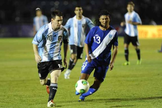 Argentina superstar Lionel Messi scored a hattrick during a friendly soccer match in Guatemala City on Friday. Photo: AFP