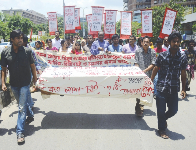 Protest rally after the Rana Plaza collapse. Photo: AFP