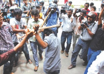 Chhatra League, the student wing of Awami League flogged the protesters out. Photo: Palash Khan
