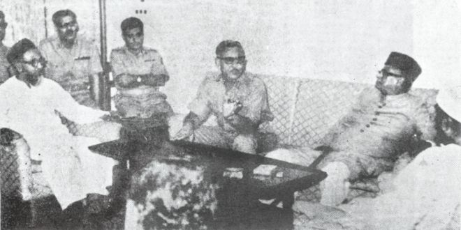 """While the nation is engaged in a life-and-death battle against Pakistan occupation forces, Ghulam Azam, left, is among a privileged few for a chat with East Pakistan governor Gen Tikka Khan, the infamous """"Butcher of Baluchistan"""", at Dhaka cantonment on April 4, 1971.Photo: Collected"""