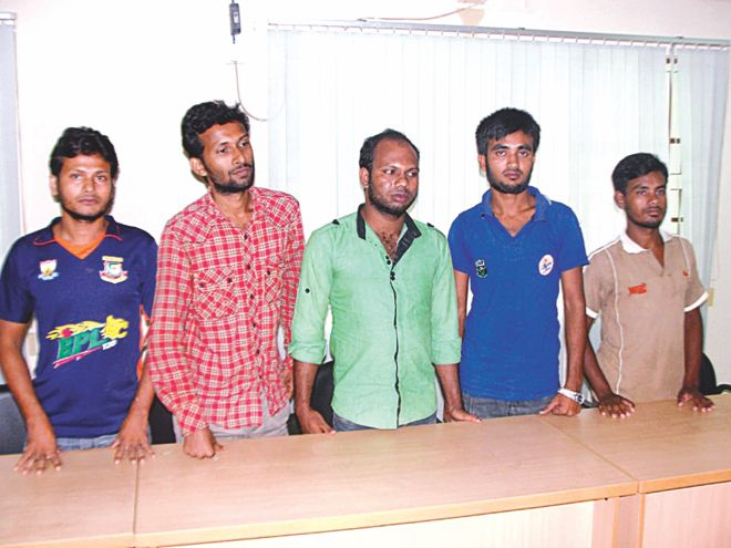 The five abductees rescued yesterday in Khagrachhari. Photo: Star