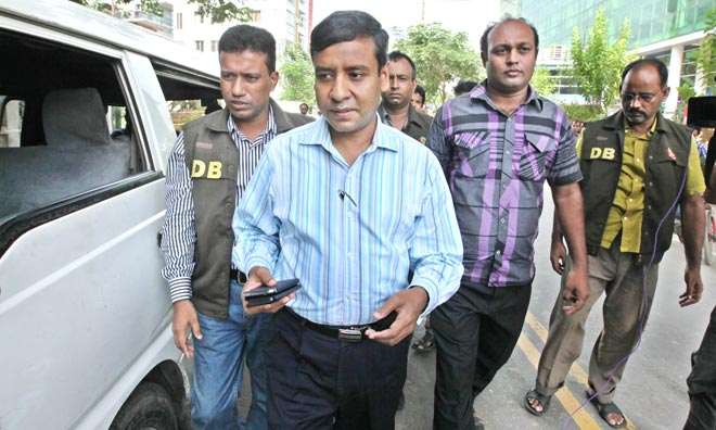 This July 24 photo shows detectives taking Awami League lawmaker Rony to DB headquarters after arresting him at Baridhara in the capital.
