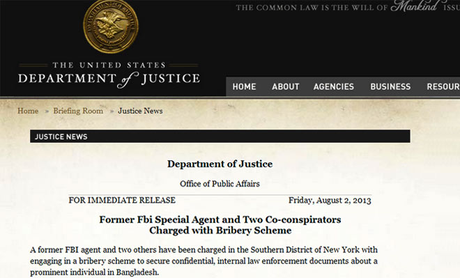 Screenshot of US Justice Department news release on the arrest and court proceedings.