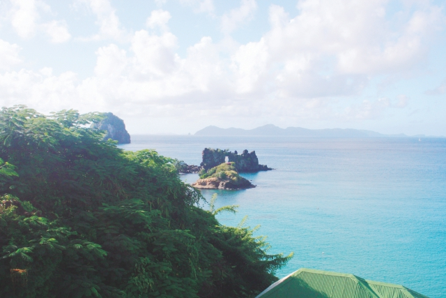 The view across the channel to Bequia, SVG.