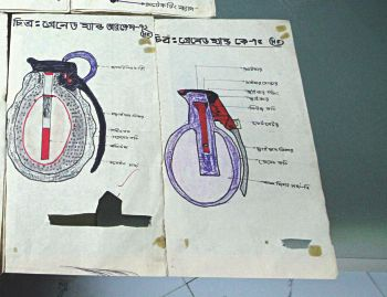 A training manual on grenades recovered from the 'militants'.