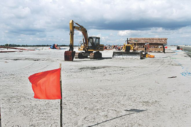 This September 15 Star photo shows land development is going on at the site of Rampal power plant in Bagerhat.