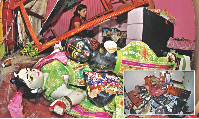 Idols lay in ruins after a mob attacked Hindu temples and homes in Bonogram of Pabna on Saturday. The pack also stormed houses and vandalized them, inset. Photo: Star