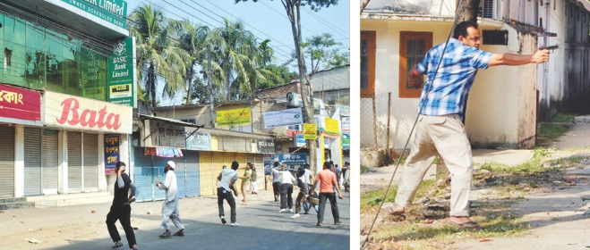 (Left) Activists of Jamaat-e-Islami and pro-Jamaat student organisation Islami Chhatra Shibir vandalise state-owned BASIC Bank Limited's Rainagar branch in Sylhet city yesterday, the 6th day of the opposition's 144-hour blockade ending 6:00am today. (Right) Masum Ahmed, a former Bangladesh Chhatra League (BCL) activist and brother of former Sylhet city unit BCL joint convener ASM Rashed, fires at the activists who had turned their attention from the bank to his residence, situated right behind the financial institution. Photo: Banglar Chokh