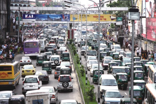 increasing traffic jams due to increase in the numbre of vehicles Day by day the number is increasing and most part of dhaka is badly  due to  traffic jam a substantial portion of working hours have to be left on streets  as  infrastructure and vehicles, coupled with the rapid rise in transport.